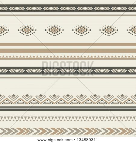 Seamless ethnic striped ornamental pattern . Vector ornated background .