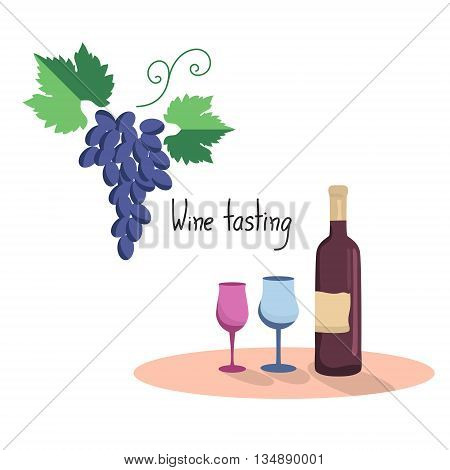 Vector illustration  of wine bottle, two wine glasses and grapes. Flat style