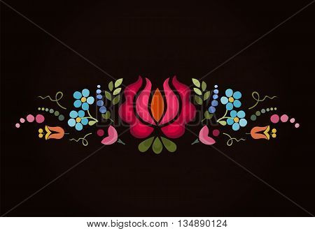Abstract floral bright composition on dark background . Vector background . Floral pattern.
