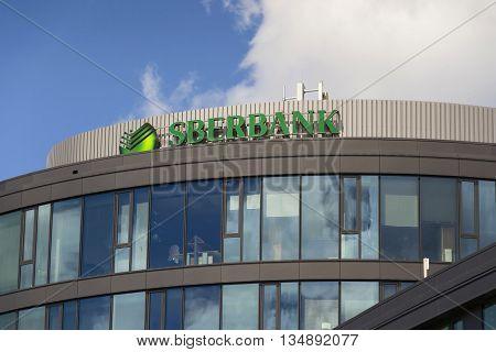 Prague, Czech Republic - June 18: Sberbank Corporation Logo On The Building Of Czech Headquarters On