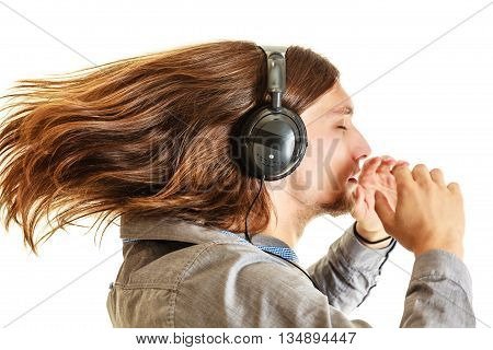 Passionate Music Lover. Man With Headphones.