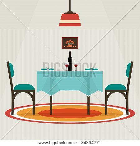 Flat style table for two with cloth wine glasses bottle of wine. Vector illustration .