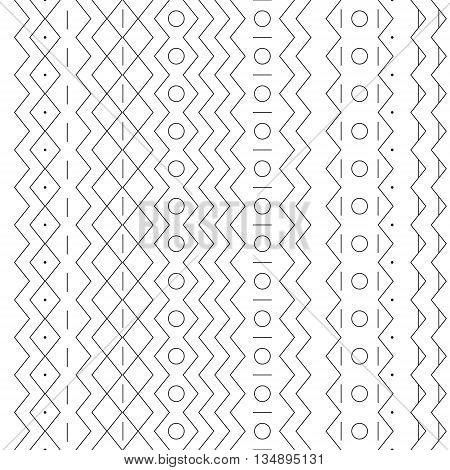 Seamles vector line art zigzag background . Monochrome pattern