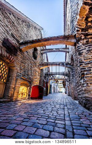 Medieval street  St. Catherine's Passage in Tallinn old town, Estonia