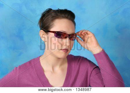 Sunglass Girl With Purple Shirt