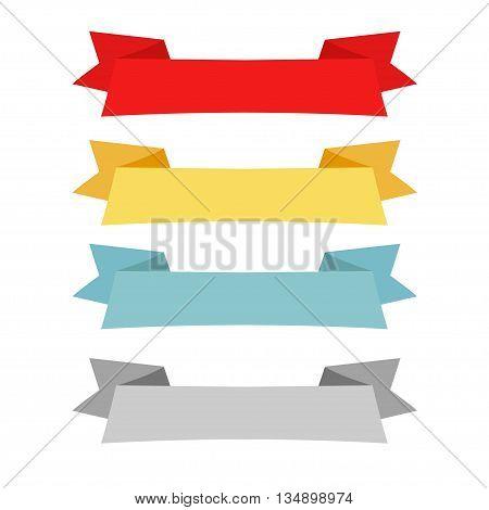 set design four different color retro ribbons