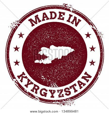 Kyrgyzstan Vector Seal. Vintage Country Map Stamp. Grunge Rubber Stamp With Made In Kyrgyzstan Text