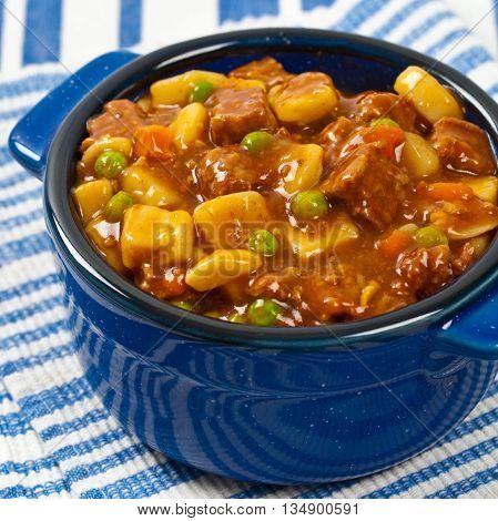 Homemade Slow Cooker Beef Stew. Selective focus.