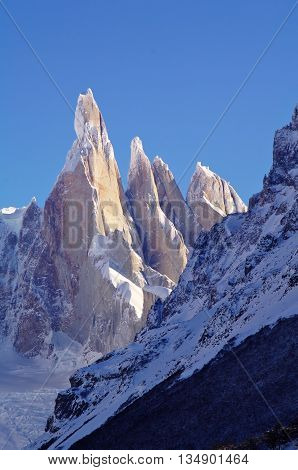 Patagonia peaks and glaciers, Cerro Torre and Fitz Roy