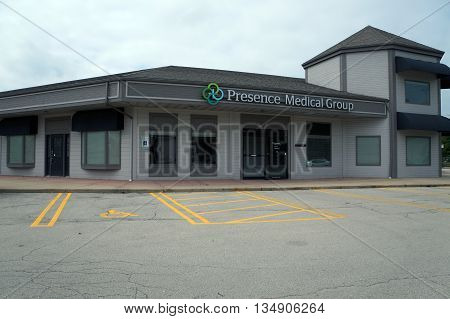 SHOREWOOD, ILLINOIS / UNITED STATES - AUGUST 30, 2015: The Presence Medical Group offers medical services in the Park Place Plaza in Shorewood.