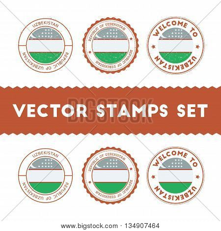 Uzbekistani Flag Rubber Stamps Set. National Flags Grunge Stamps. Country Round Badges Collection.