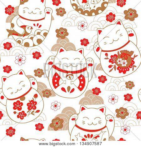 Seamless pattern with cats maneki neko and sakura flowers. Vector illustration.