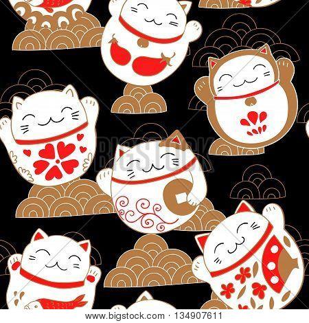 Seamless pattern with cats Maneki-neko. Vector illustration.