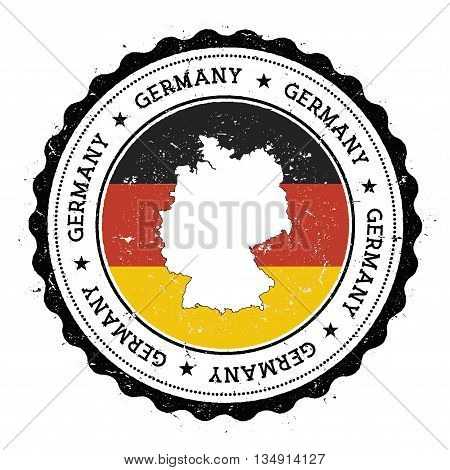 Germany Map And Flag In Vintage Rubber Stamp Of State Colours. Grungy Travel Stamp With Map And Flag