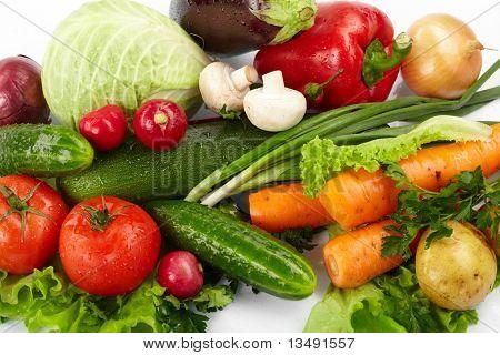fresh vegetables on the white background