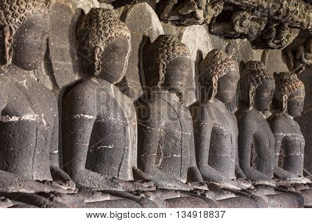 Statue of Buddha in Ellora caves near Aurangabad, Maharashtra state in India