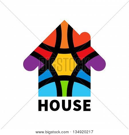 Real estate house logo. Icon. Design template element. Colorful house clipart