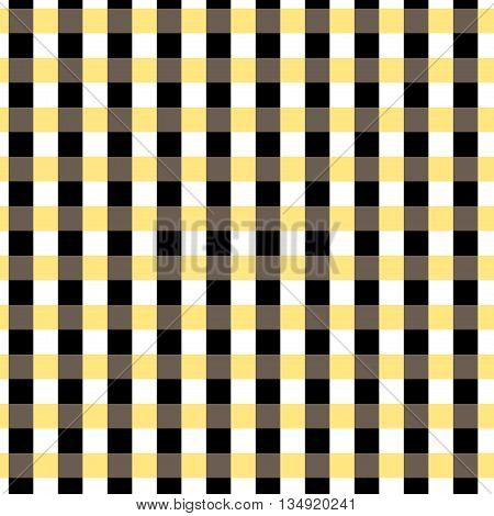 Seamless gingham pattern. Black yellow white and brown color. Checkered pattern in swatch