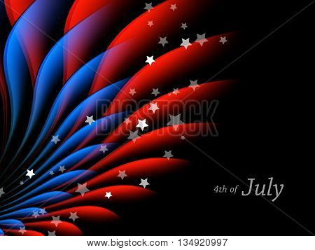 Happy 4th of July.  Independence Day Vector Design . July Fourth. Wavy Vector Colorful Design.  Eps10