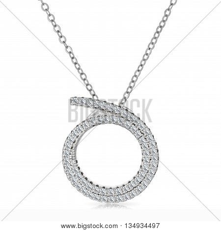 Close-up Silver Pendant With A Diamonds On A Chain