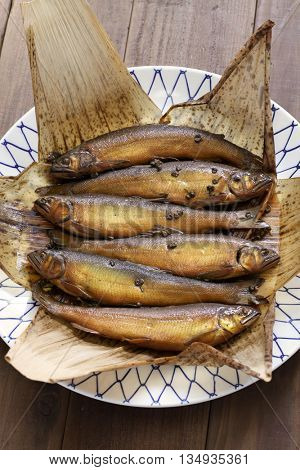 simmered ayu ( sweetfish ) with japanese pepper, japanese fish dish
