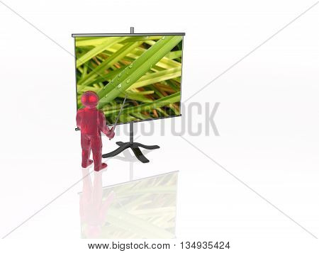Man with presentation stand about nature white background, 3D illustration.