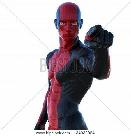 a young strong man in a red and black super suit. He points at the camera with his left hand. 3D rendering, 3D illustration