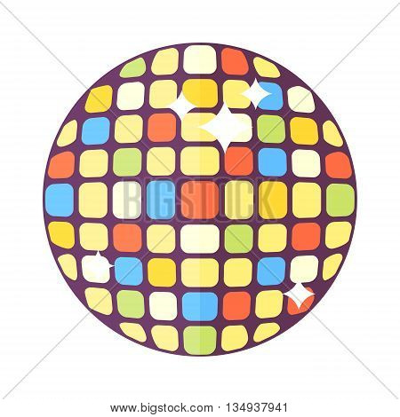 Golden disco mirror ball isolated on white background. Party entertainment disco ball dance music shine discotheque. Disco ball vector illustration retro nightclub round equipment.