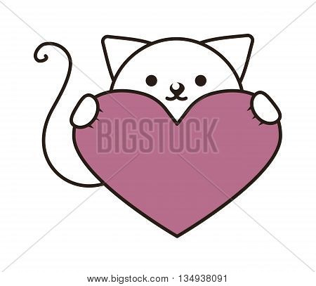 Fashion portrait of hipster cat with heart in hand isolated on white. Vector hand drawn cat and heart illustration. Cat and heart kid character, card feline young domestic sweet happy mammal.