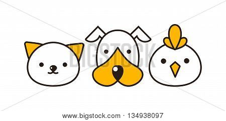 Cat, dog and bird vector illustration. Animal had set, domestic cat, dog and farm bird feline portraits. Cute little mammals characters different group domestic cat, dog and little bird animal.