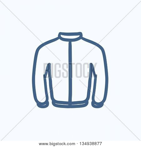 Biker jacket vector sketch icon isolated on background. Hand drawn Biker jacket icon. Biker jacket sketch icon for infographic, website or app.
