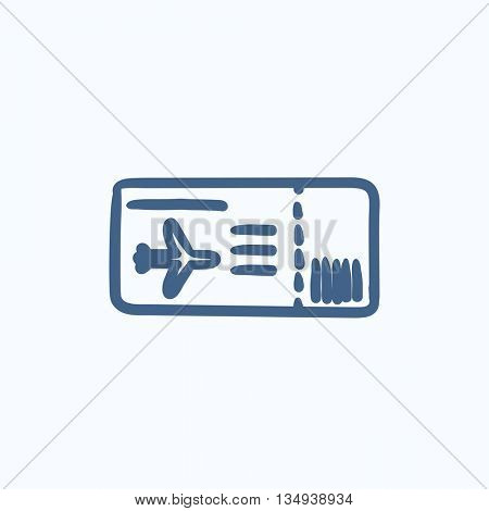 Flight ticket vector sketch icon isolated on background. Hand drawn Flight ticket icon. Flight ticket sketch icon for infographic, website or app.
