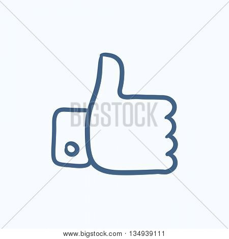 Thumbs up vector sketch icon isolated on background. Hand drawn Thumbs up icon. Thumbs up sketch icon for infographic, website or app.