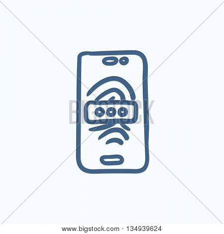 Mobile phone scanning fingerprint vector sketch icon isolated on background. Hand drawn Mobile phone scanning fingerprint icon. Phone scanning fingerprint sketch icon for infographic, website or app.