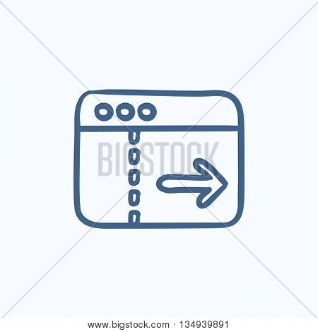 Browser window with arrow right vector sketch icon isolated on background. Hand drawn Browser window with arrow right icon. Browser window with arrow right sketch icon for infographic, website or app.