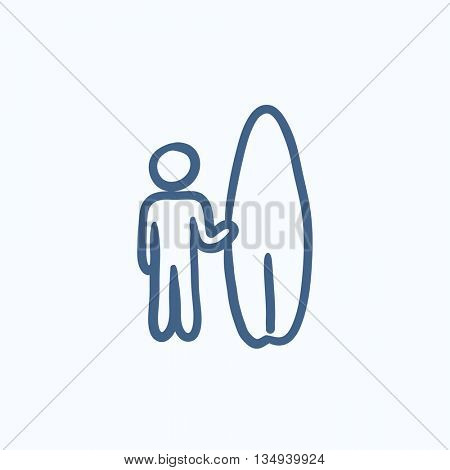 Man with surfboard vector sketch icon isolated on background. Hand drawn Man with surfboard icon. Man with surfboard sketch icon for infographic, website or app.