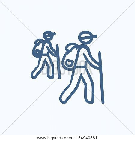 Tourist backpackers vector sketch icon isolated on background. Hand drawn Tourist backpackers icon. Tourist backpackers sketch icon for infographic, website or app.