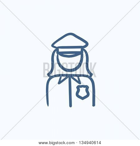 Policewoman vector sketch icon isolated on background. Hand drawn Policewoman icon. Policewoman sketch icon for infographic, website or app.