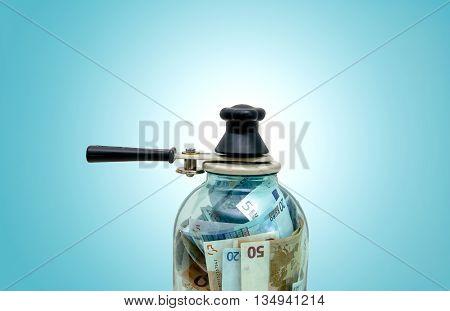 symbol-preserving European money in a glass jar