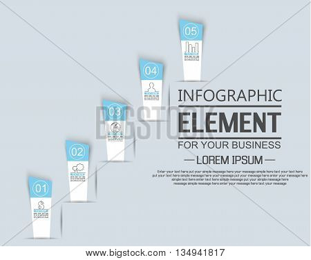 ELEMENT FOR INFOGRAPHIC TEMPLATE STIKER NUMBER OPTION LADDER OF SUCESS THIRD EDITION BLUE