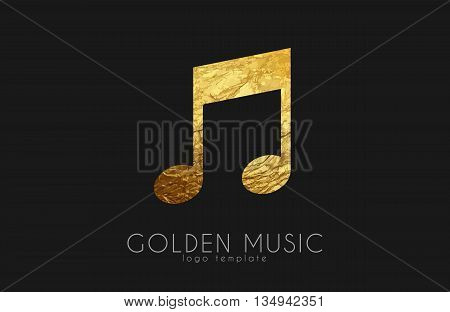 Music note. Golden note. Music logo design