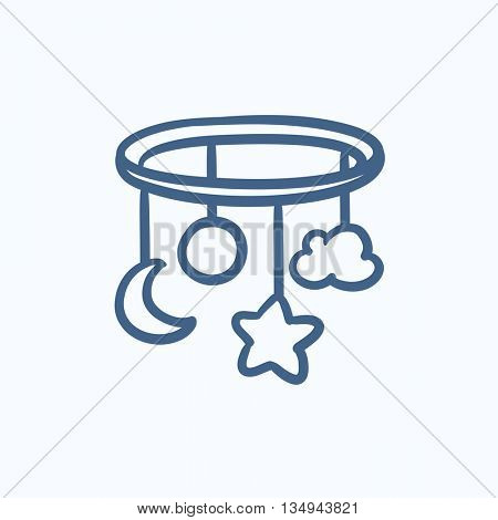 Baby bed carousel vector sketch icon isolated on background. Hand drawn Baby bed carousel icon. Baby bed carousel sketch icon for infographic, website or app.