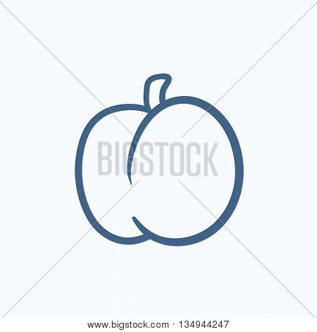 Plum with leaf vector sketch icon isolated on background. Hand drawn Plum with leaf icon. Plum with leaf sketch icon for infographic, website or app.