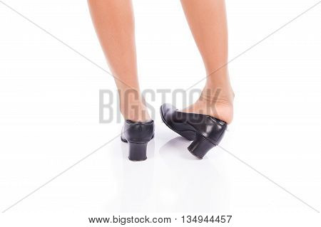 Ankle sprain while walking on white background
