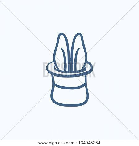 Rabbit in magician hat vector sketch icon isolated on background. Hand drawn Rabbit in magician hat icon. Rabbit in magician hat sketch icon for infographic, website or app.