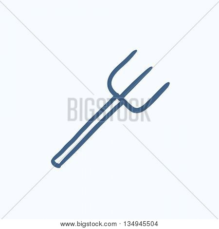 Pitchfork sketch icon for web, mobile and infographics. Hand drawn pitchfork icon. Pitchfork vector icon. Pitchfork icon isolated on white background.