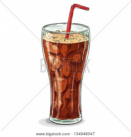 Glass of cola with ice. Coca cola color picture sticker. Vector illustration, EPS 10