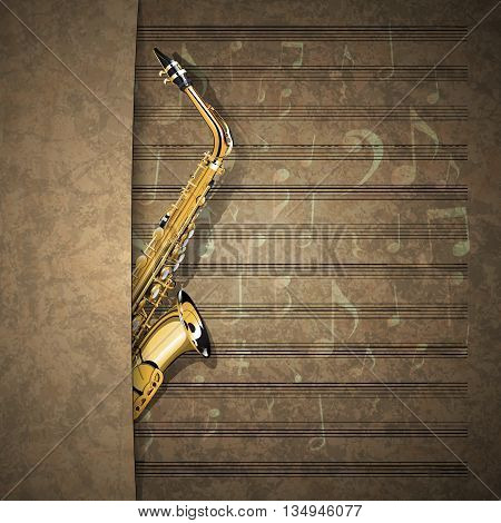 Vector illustration of a musical background a saxophone in old music sheet with an overlap. There is room to place text or an image.
