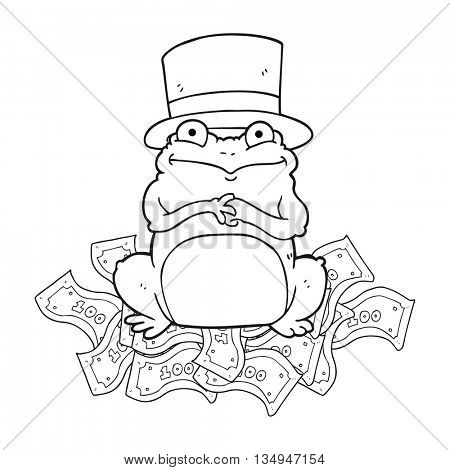 freehand drawn black and white cartoon rich frog in top hat