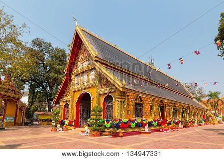 Wat Si Muang Buddhist temple in Vientiane Laos